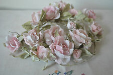 VINTAGE PINK ROSE WEDDING FLOWER GARLAND WIRE HOME DECORATION