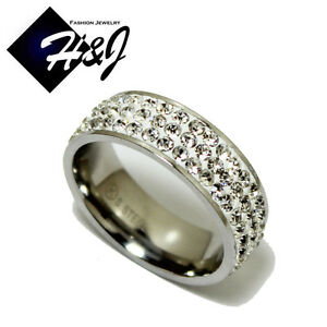 Women's Stainless Steel 3-Rows Sparkle White Crystal Silver Wedding Band Ring