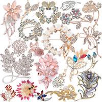 Damen Kristall Strass Mix Anstecknadel Blumen Brosche Brautschmuck Pin Brooch