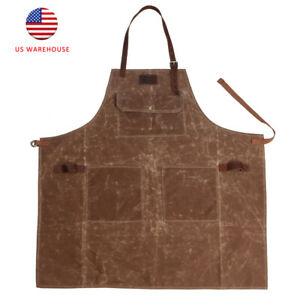 Tourbon Wax Canvas Work Apron Leather Strap Apron with Pockets for Cafe Baker