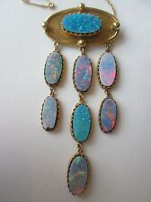 Antique 18ct Gold 3 Tier Opal Doublet Brooch. Stunning Fire Red Black Blue Etc.