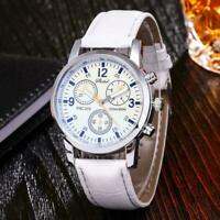 Mode für Männer Blu-ray bunte Armbanduhr Leder Quarzuhr Studentenuhr E3J4