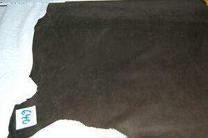 Lederhaut,echt Leder, Silky Pig,Velour, Rauleder,  uni Fb dunkelbraun Nr 640
