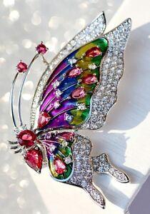 2.72ct Round Diamond 14k Solid White Gold Ruby Gemstone Enamel Butterfly Brooch