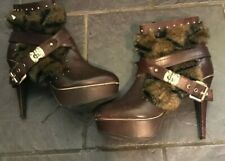 river island ankle boots 7 Dark Red Oxblood With Gold Fittings And Fur Trim