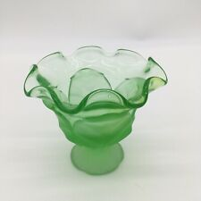 Frosted Green Glass Bowl Candy Dish Leaf Ruffle Top Open Flower