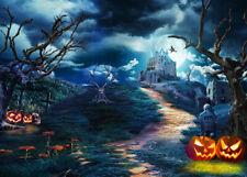 10x8ft Halloween Pumpkin Graveyard Dead Trees Photo Background Vinyl Backdrop LB