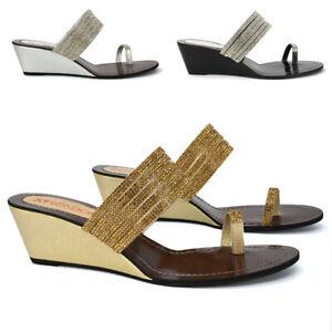Womens Wedge Heel Toe Post Sandals Ladies Rhinestone Summer Holiday Mule Shoes