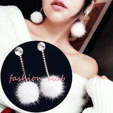 1Pair Korean Pompom Plush Soft Mink Fur Ball Dangle Rhinestone Earring Ear Studs
