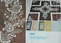 Vintage Stamped Table Runner Scarf Ready To Embroider Brown & Cream 16x39 6933F