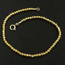 Cut Beads Beaded Anklet. Your size. Gold Plated Sterling Silver 925 Laser