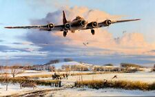Winter's Welcome by Robert Taylor signed by B-17 Pilots