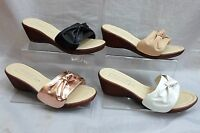 LADIES COMFORT SLIP ON OPEN TOE WEDGE MULES SANDALS,ROSE GOLD BLACK NUDE CHIME1