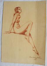 Morris Henry Hobbs Original Drawing Signed Nude Woman painting New Orleans