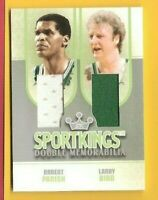 LARRY BIRD & ROBERT PARRISH 2 GAME USED JERSEY CARD SPORTKINGS BOSTON CELTICS