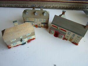 Lot of 3 HO Built Vintage Paper Cardboard Village House Buildings Business etc