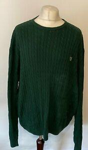 CHAPS Men's Jumper Green Cable Knit 2XL XXL 100% Cotton