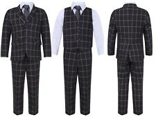 BOYS FIVE PIECES WEDDING PARTY PROM GREY CHECKERED SUIT 1-15 YEARS