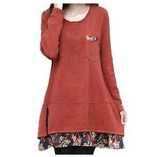 Winter Cotton Blends Tunic Chiffon Loose Slouch Japan Top Dress Sz 14 Red 8
