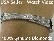 .85 CARAT GENUINE DIAMONDS WOMENS LADIES WHITE GOLD FINISH PAVE BRACELET BANGLE