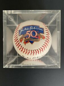 Jackie ROBINSON DODGERS Baseball w/ Display Case 50th Anniversary LA Brooklyn
