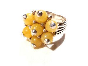 Bijou argent 925  bague lucite jaune taille 54 ring