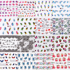 50 Sheets Nail Art 3D Butterfly Feather Flower Water Transfer Stickers Decals