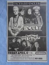 Cult,Divinyls,signed,1986 concert poster, Pittsburgh Civic Arena