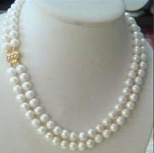 hot-2-row-9-10MM-AKOYA-REAL-WHITE-PEARL-NECKLACE-14k-Clasp