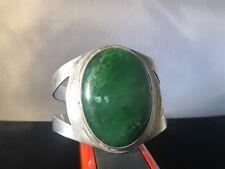 Vintage Sterling Silver Bracelet w/ Green Malachite Stone