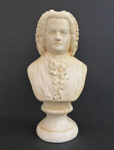 """PLASTER STATUETTE BUST OF J S BACH 8.5"""" SIGNED 'P A' MARKED 'R'"""