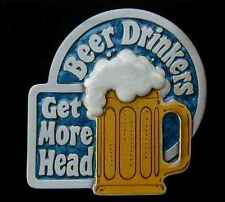 BEER DRINKERS GET MORE HEAD NOVELTY BELT BUCKLE NEW!