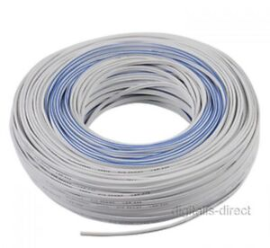 100m WHITE SPEAKER CABLE TWIN WIRE LOUDSPEAKER CAR HOOK UP LEAD NEW SEALED