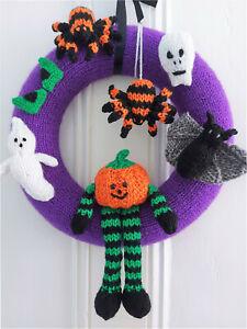 KNITTING PATTERN Halloween Wreath Decoration CHUNKY Ghost Spider Bat Pumpkin 35c