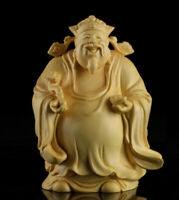 10*8*6cm Chinese Box-wood Hand Carving Taoism Immortal Lucky Lu God Statue 禄星