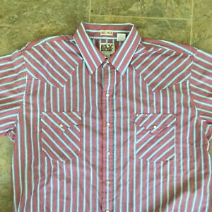 Ely Cattleman Mens Dress Shirt Pearl Snap Button Up Short Sleeve Striped Size XL