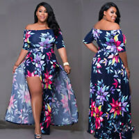 New Plus Size Women Boat Neck Half Sleeves Floral Print High Slit Maxi Dress