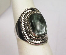VERY RARE RUSSIAN ANGEL STONE SERAPHINITE RING BOLD STERLING SILVER SETTING