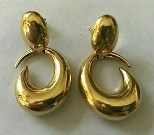 UNOAERRE Brev Italy 14K Yellow Gold Puffy Hoop Drop Earrings New Retail $850.00