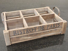 Large Retro Wooden Wine Bottle Bistro Crate With Handle Pint Glasses Drinks Tray