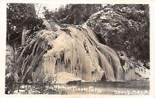 Davis Oklahoma~Turner Falls In Winter~Frozen~1940s Real Photo Postcard~RPPC