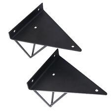 Pair of Hairpin Industrial Wall Shelf Support Bracket Metal Prism Mount Black