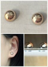 Round Gold Tone Metallic Half Ball Magnetic CLIP ON Earrings Studs Mens Womens
