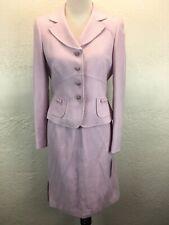 S26 NEW Tahari Arthur Levine Sz 6 Pink Boucle Skirt Suit 2 Piece Set Embellished