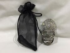 """HALLOWEEN/EVERYDAY JEWELED SKULL CLOTHES PIN/BROACH/SCARF JEWELRY (3.0""""X1.75"""")"""