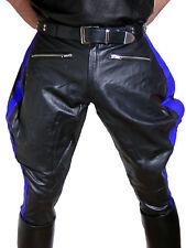 Lederhose blaue Streifen Stiefelhose neu Breeches Motorradhose leather pants