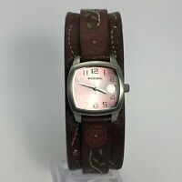 Fossil Womens JR-8780 Date Indicator Quartz Analog Wristwatch Leather Strap