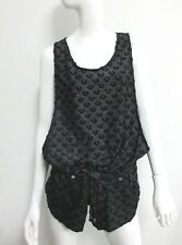 NWT True Religion Swimwear Women's Short Sleeveless Romper Black/ Grey MEDIUM M