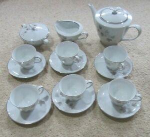NORITAKE China (Japan) Tea Set 15 Pc 'Harwood' 6312 6 Cups Saucers Pot Jug Bowl