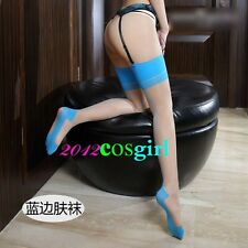 sexy retro temptation hit color With soles of  heel stockings 0906 Beig&Blue CA